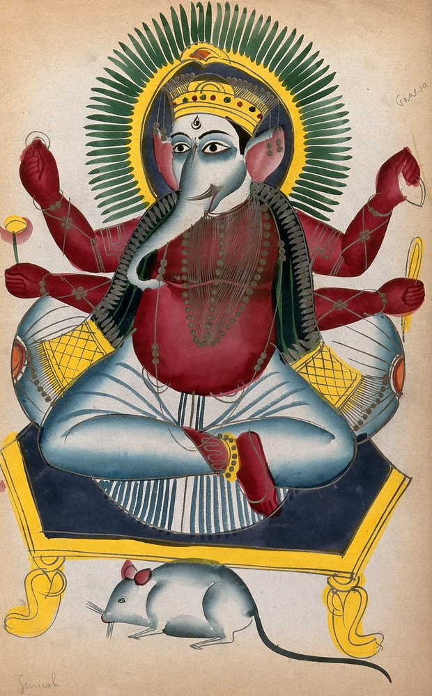 Ganesha enthroned holding his symbols with his rat