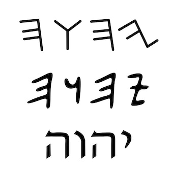 Tetragrammaton in three scripts