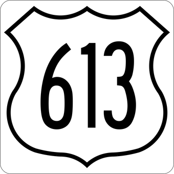 US Route 613 Highway Marker Used Here To Illustrate The Commandments