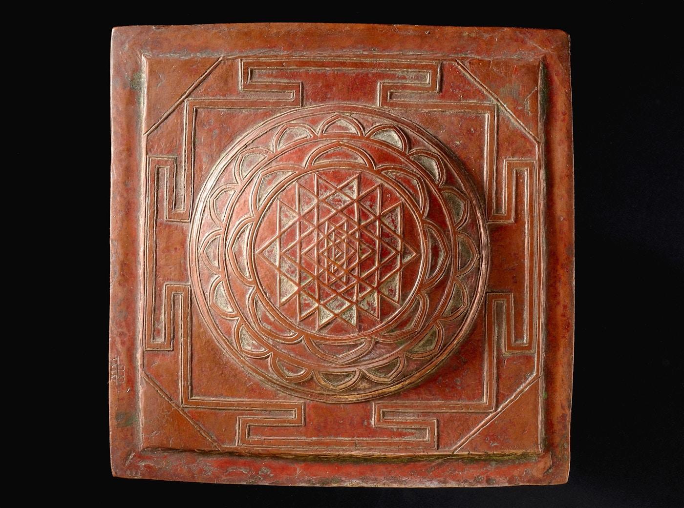 L0058515 Copper yantra meditation plaque, India, 1801-1900