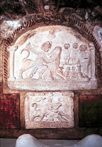 A 2nd-Century Fresco of Mithras Slaying Bull