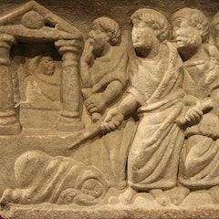Early Christian Sarcophagus with Biblical Scenes: Raising of Lazarus