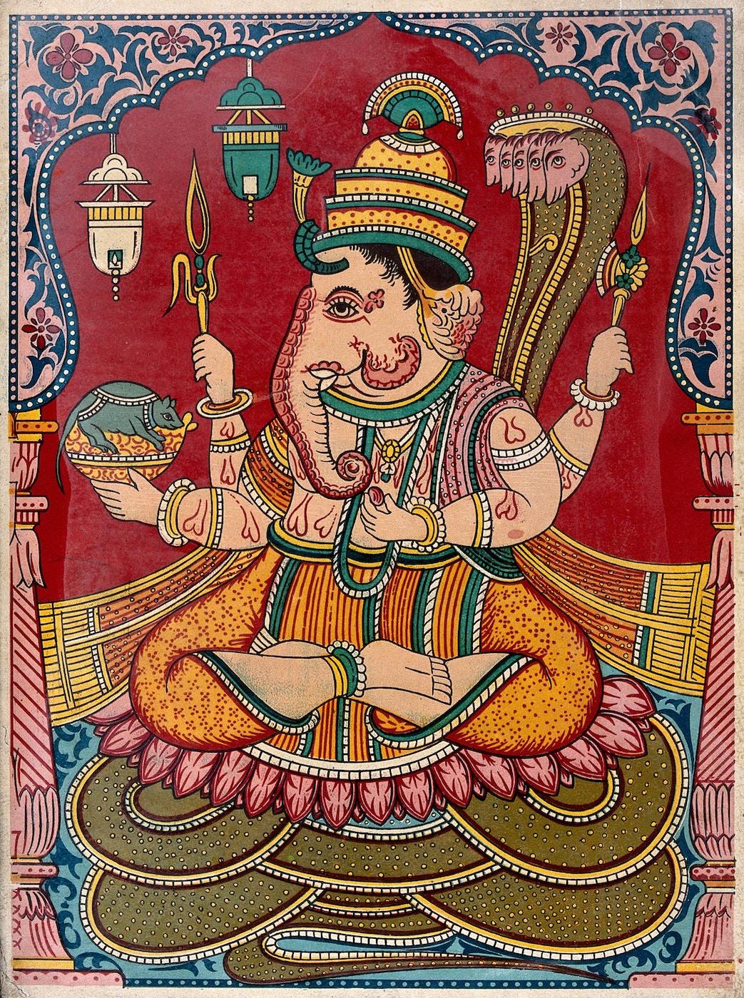 V0044933 Ganesha. Chromolithograph.