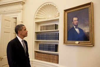 Obama and Lincoln in the Oval Office