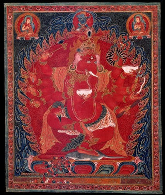 Dancing Red Ganapati of the Three Red Deities