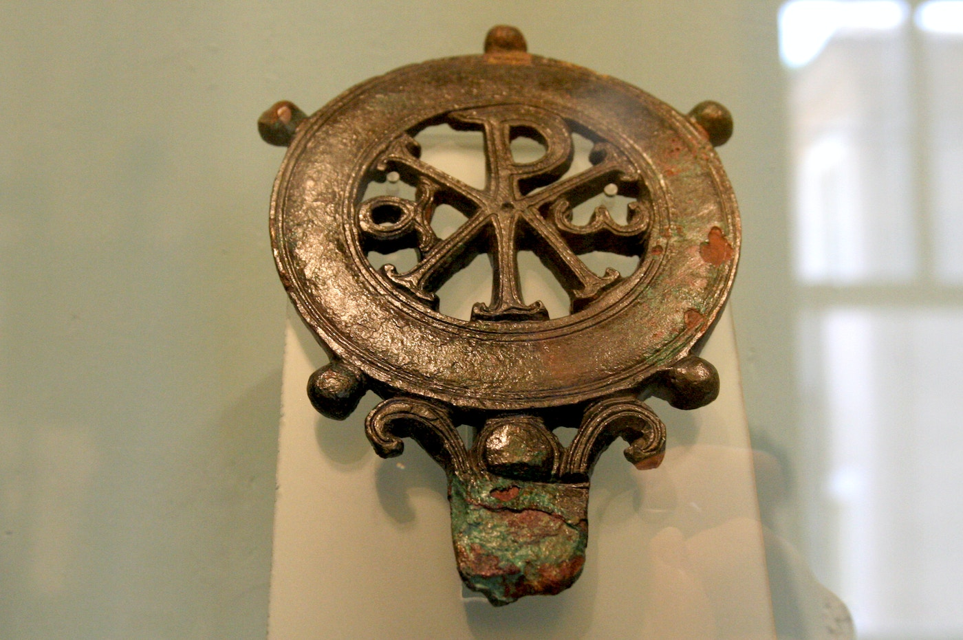 Bronze Lamp with Christogram